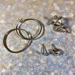Sterling jewelry hoop earrings, hearts, ear climb